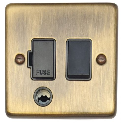 G&H CAB56B Standard Plate Antique Bronze 1 Gang Fused Spur 13A Switched & Flex Outlet